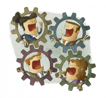 Four business people connecting inside cogs