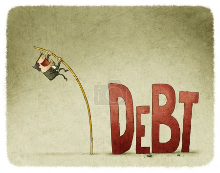 Photo for Businessman jump over a debt with a pole - Royalty Free Image