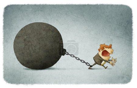 Photo pour Homme d'affaires enchaîné à une grosse boule - image libre de droit