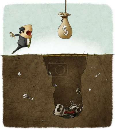 Photo for Businessman deceived with a trap illustration - Royalty Free Image