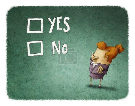 Photo pour Femme se prononcer entre oui ou non - image libre de droit