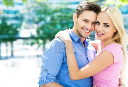 Photo for Happy young couple outdoors - Royalty Free Image