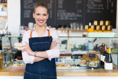 Woman working at cafe