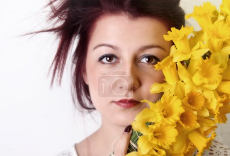 spring beauty, women with yellow flowers