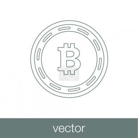 Digital money icon. E-commerce icon. Bitcoin icon. Innovative cr
