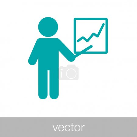 Illustration for Analysis presentation icon. Business man analyzing data. Chart icon. Businessman icon - human figure icon - flipchart icon - project presentation icon - Businessman analysing data during a project presentation - Concept flat style design icon - Royalty Free Image