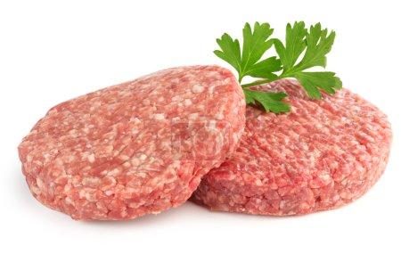 Hamburger-Pasteten und Petersilie isoliert auf weißem Hintergrund