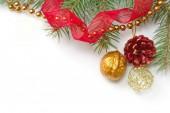 Vánoční pozadí s jedle a dekorace