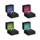 Gold Engagement Rings Shiny Clear Diamonds Black Colored Jewelry boxes