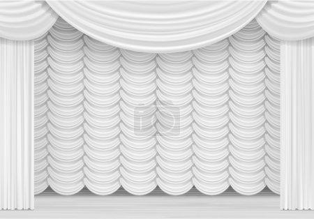 Illustration pour Illustration vectorielle de la scène avec des rideaux blancs - image libre de droit