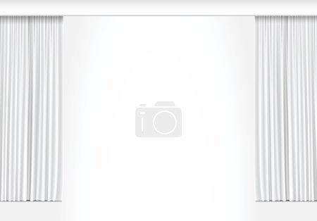 Illustration pour Illustration vectorielle de rideaux blancs isolés sur fond blanc - image libre de droit