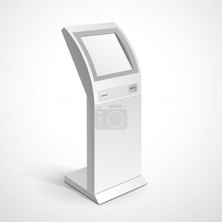 Illustration for Vector Interactive Information Kiosk Terminal Stand Screen Display Console Infokiosk - Royalty Free Image