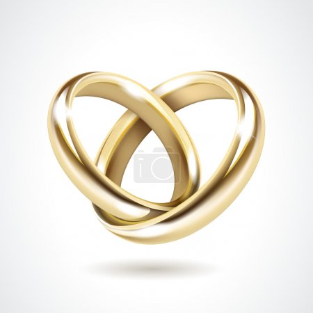 Illustration for Vector Gold Wedding Rings Isolated on White - Royalty Free Image