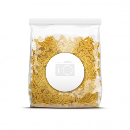 Illustration pour Farfalle Bow Tie Pasta Packaging Template Isolated on White Background - image libre de droit