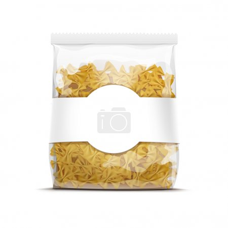 Ilustración de Farfalle Bow Tie Pasta Packaging Template Isolated on White Background - Imagen libre de derechos