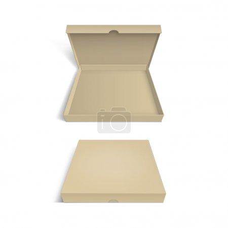 Illustration pour Modèle d'emballage de boîte à pizza isolé sur fond blanc - image libre de droit