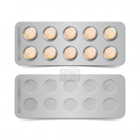 Vector Pack of Orange Pills Isolated on White