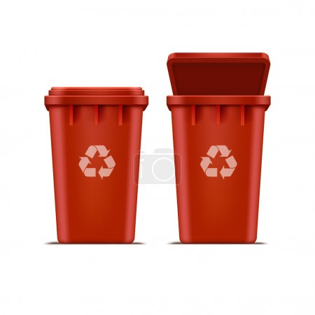 Vector Red Recycle Bin for Trash and Garbage