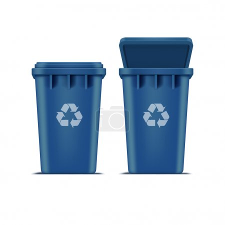 Vector Blue Recycle Bin for Trash and Garbage