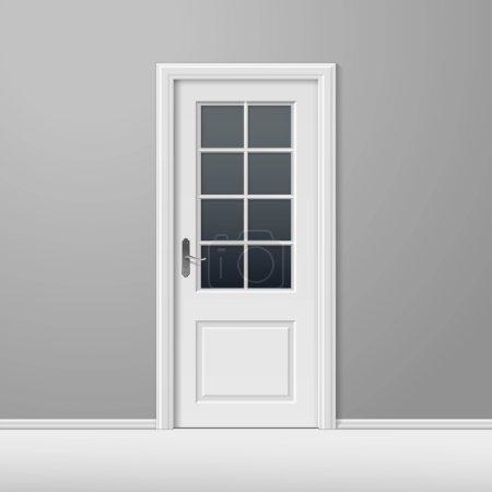 Puerta cerrada blanca del vector con el marco