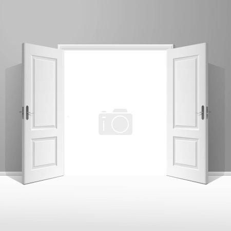 Vector White Open Door with Frame