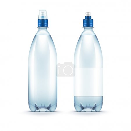 Vector Blank Plastic Blue Water Bottle Isolated