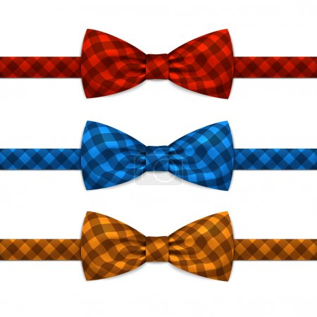 Illustration for Vector Bow Tie Bowtie Set Isolated on White Background - Royalty Free Image
