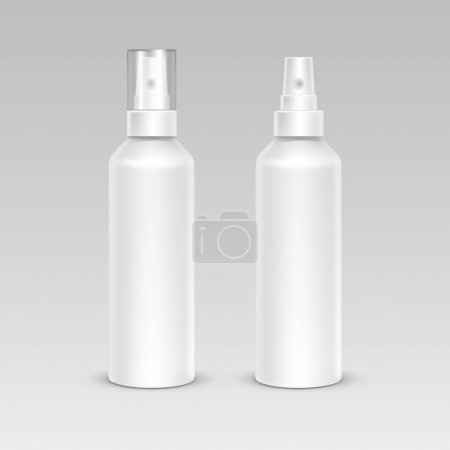 Illustration for Spray Bottle White Plastic Packaging Container Set. Medical Cosmetic Care. Blank Isolated Vector Illustration - Royalty Free Image