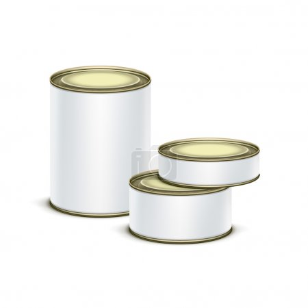 Illustration for White tin box packaging container set for tea, coffee or canned tinned preserves food isolated vector illustration - Royalty Free Image