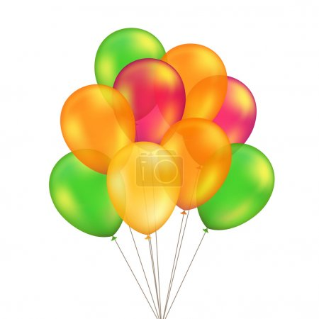Vector Green Red Orange Yellow Balloons Set Isolated