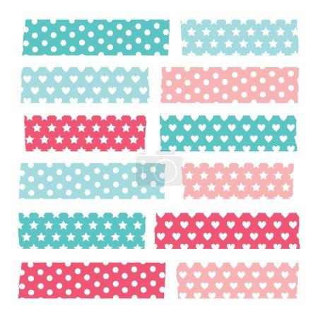 Set of colorful patterned washi tape stripes