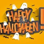 Happy Halloween Card Design Elements On Background...