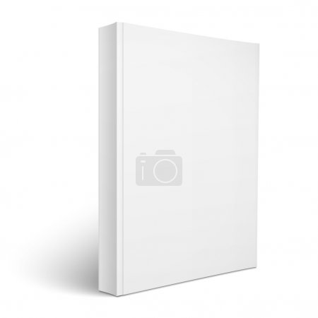 Illustration for Blank vertical softcover book template standing on white surface  Perspective view. Vector illustration. - Royalty Free Image