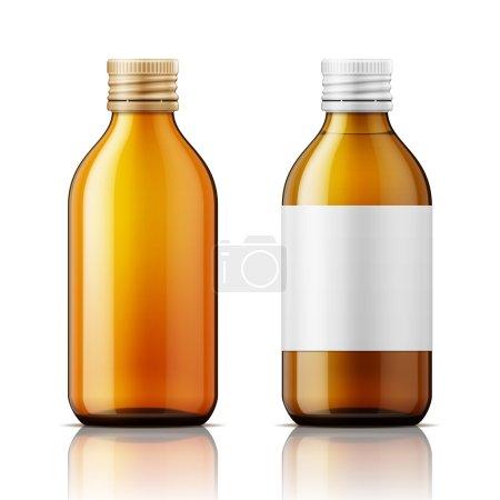 Illustration pour Modèle de bouteille en verre brun avec bouchon à vis, rempli de liquide et vide. Pour les médicaments, sirop, pilules, onglets. Collecte d'emballages. Illustration vectorielle - image libre de droit
