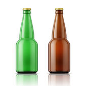 Green and brown beer bottles with cap