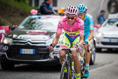 Sestriere, Italy 30 May  2015; Alberto Contador in Pink Jersey  tackles the last climb before arrival