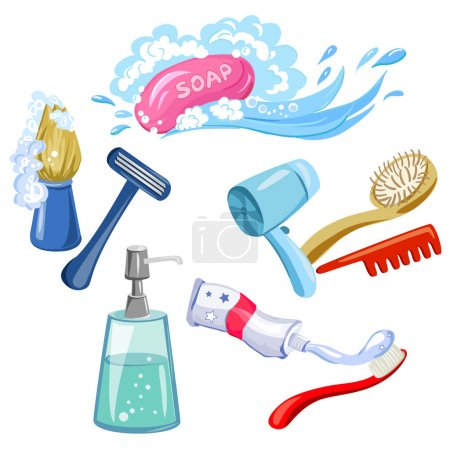 Illustration for Hygiene, personal care, items. vector illustration - Royalty Free Image