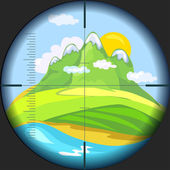 Mountain view through the telescope vector illustration
