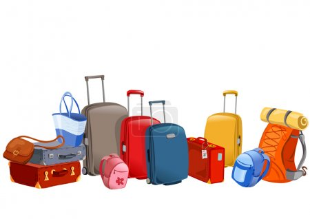 Illustration for Banner with luggage, suitcases, backpacks, packages. vector illustration - Royalty Free Image