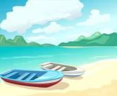 Boats on the beach vector illustration