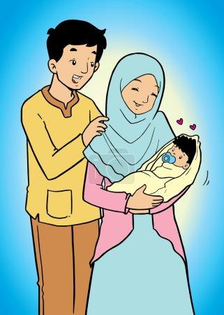Indonesische muslimische Familie mit Baby