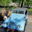 Постер, плакат: Retrocar of 1950 70s soviet light truck UAZ 69 GAZ 69 with top