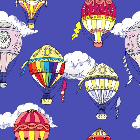 Seamless pattern with clouds and hot air balloons