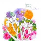 Background  with summer flowers and watercolors-03