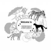 Background with savanna animals-02