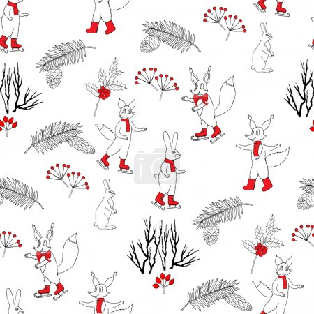 Seamless pattern with Christmas forest
