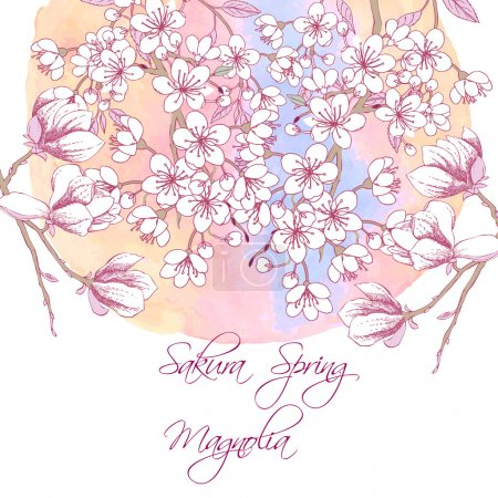 Illustration for Background with sakura and magnolia. Hand drawn spring blossom trees. Vector illustration with cherry blossoms. - Royalty Free Image