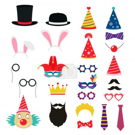 Festive birthday party elements of props. Hats, glasses, masks,