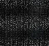 Black matrix background with white digits Computer code for encrypting and encoding data code falling numbers
