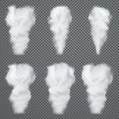 Transparent white smoke vector set on dark background